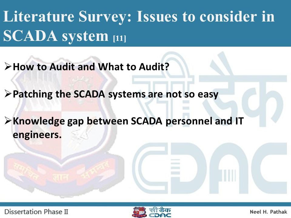 Literature Survey: Issues to consider in SCADA system [11]